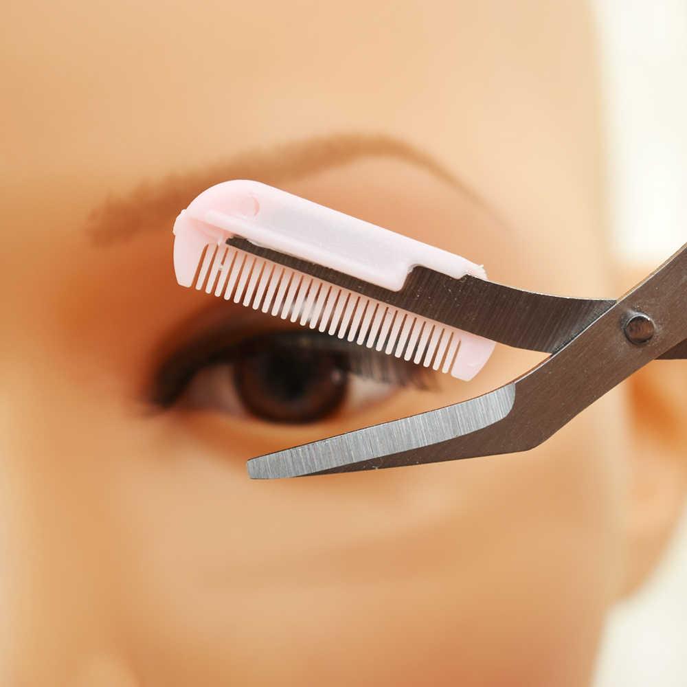 หญิงสาวเลดี้สีชมพู Eyebrow Trimmer Eyelash บางโกนหนวดหวีขนตาคลิปผมกรรไกร Shaper Eyebrow Grooming เครื่องมือ