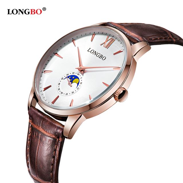 Marca longbo luxo breve design analógico relógios casal homens mulheres à prova d' água de quartzo relógio de pulso montre homme 5008