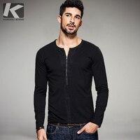 2016 Autumn Mens Casual T Shirts Zipper Black Solid Brand Clothing O Neck Long Sleeve Man