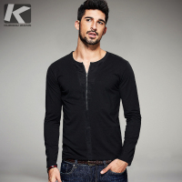 2016 Autumn Mens Casual T Shirts Zipper Black Solid Brand Clothing O Neck Long Sleeve Man