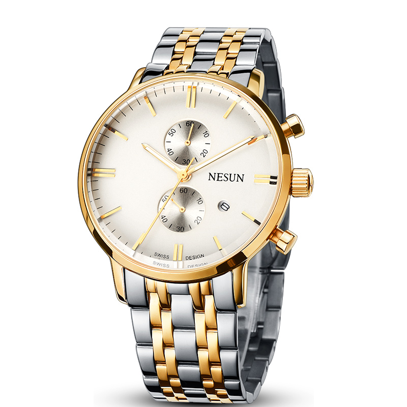 все цены на Nesun Men's Watches Luxury Brand Citizen Quartz movement Watch Men Chronograph Wristwatches Waterproof reloj hombre N8601-S3 онлайн