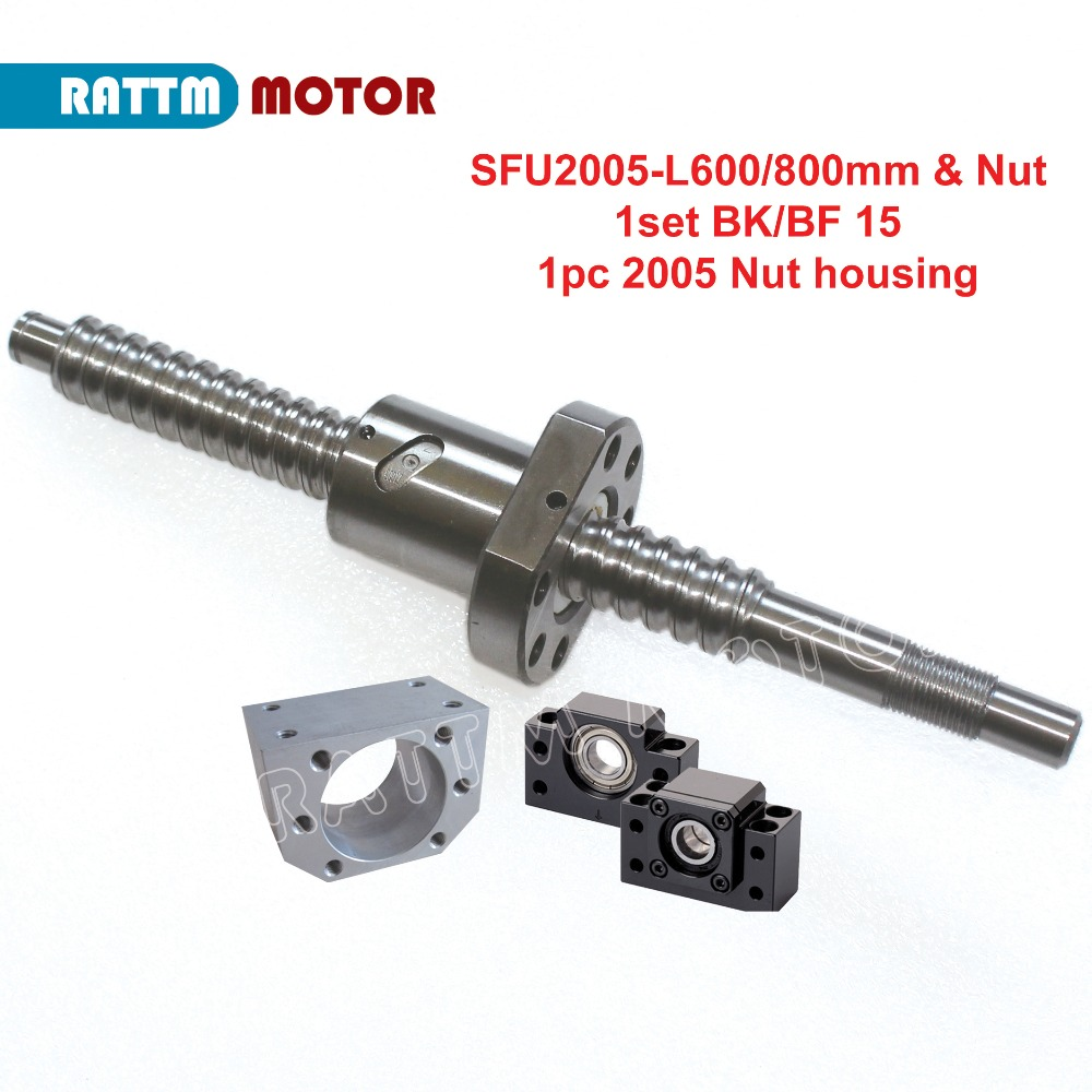 EU Delivery!! SFU2005 20mm Rolled Ballscrew L600mm/800mm/1000mm + 2005 ballnut + BK/BF15 End support + nut housing-in Linear Guides from Home Improvement    1
