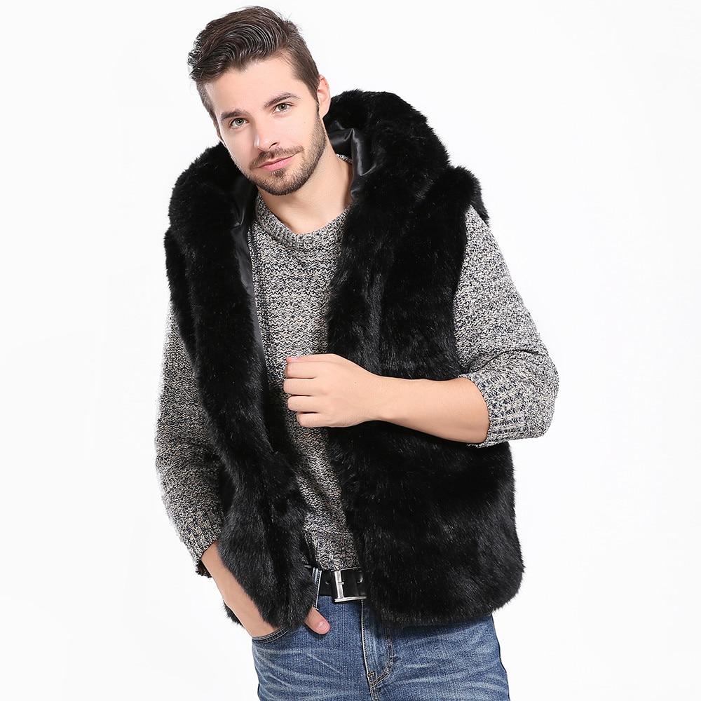 Men Faux Fur Vest Jacket Sleeveless Winter Body Wa...
