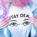 Das Mulheres novas do Verão Casual Kaylahadlington Parece Muito Pastéis Se Uniu com a Nossa Estadia Morto Camiseta 609