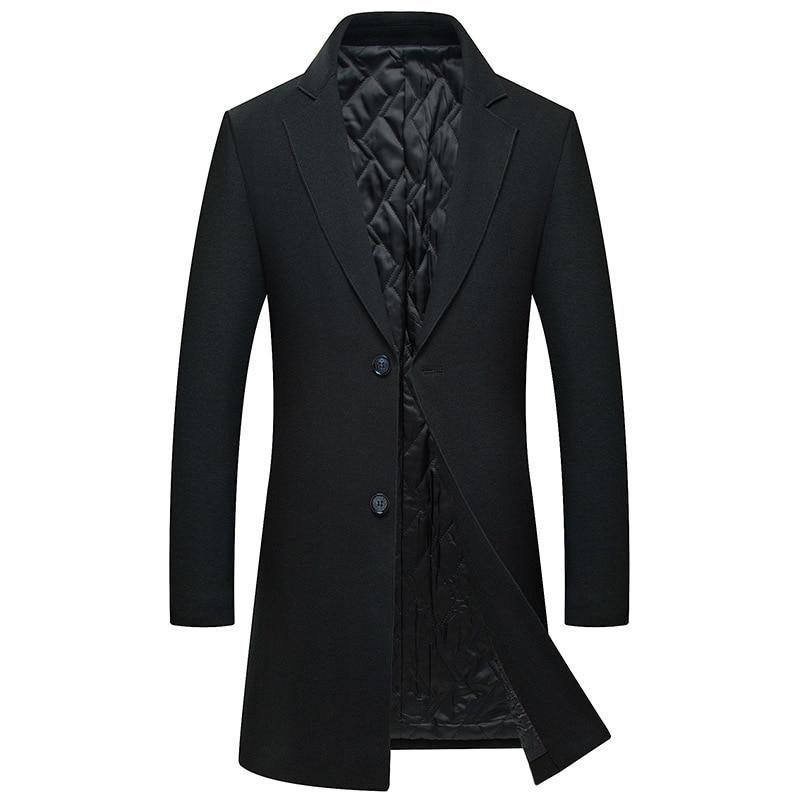 2018 Neue Casual Langen Graben Mantel Laine Homme Hervorragende Qualität Slim Fit Winter Jacke Männer Wolle
