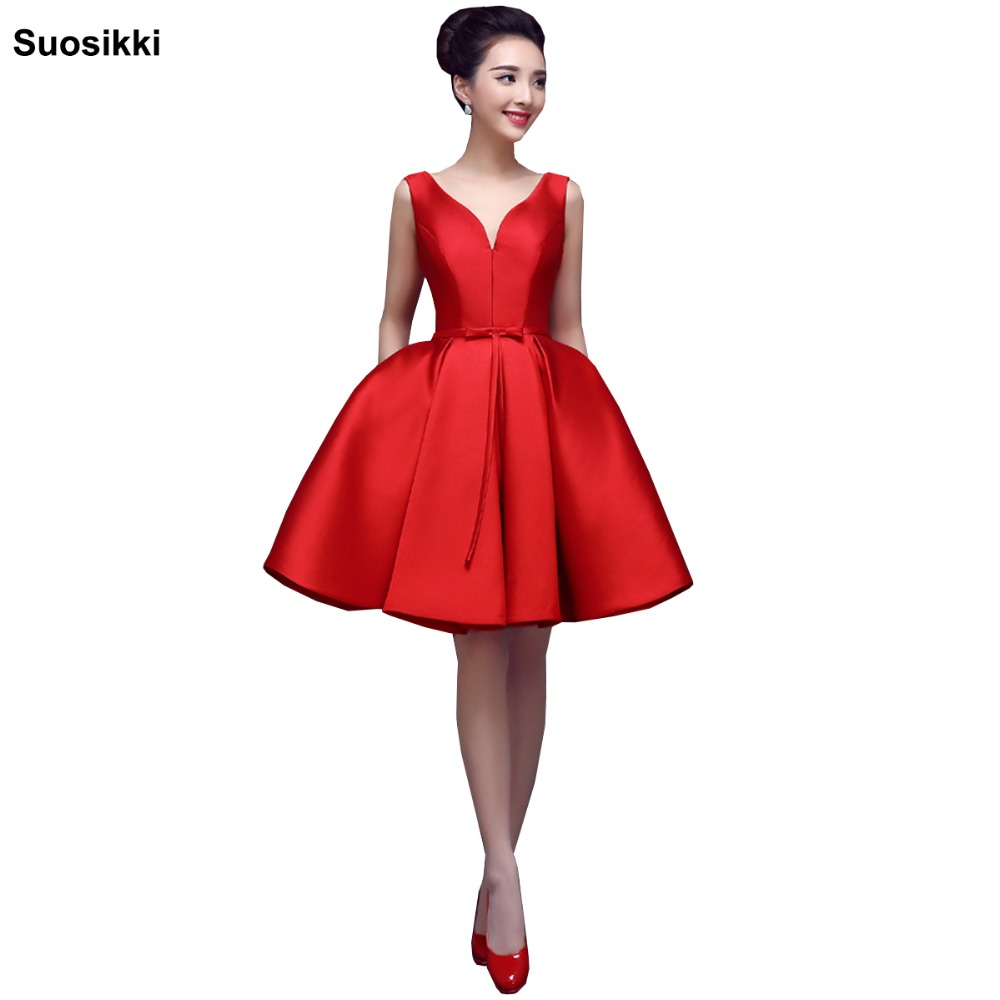 Suosikki short   evening     dress   2017 V-opening Back Lace-up   Dresses   Formal Party   Dress   Vestido De Festa red prom   dresses