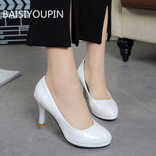 Plus Size Solid Pumps Wedding Women Shoes Shallow PU Leather Round Toe Slip-On Non-slip 8cm Thin High Heels Female Shoes 34-42 цена
