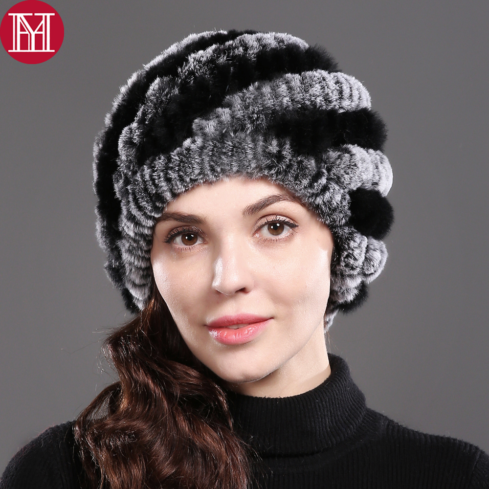 2018 Lady Winter Natural Real Rex Rabbit Fur Hat Girl 100% Rex Rabbit Fur Cap Warm Soft Knitted Genuine Fur   Skullies     Beanies