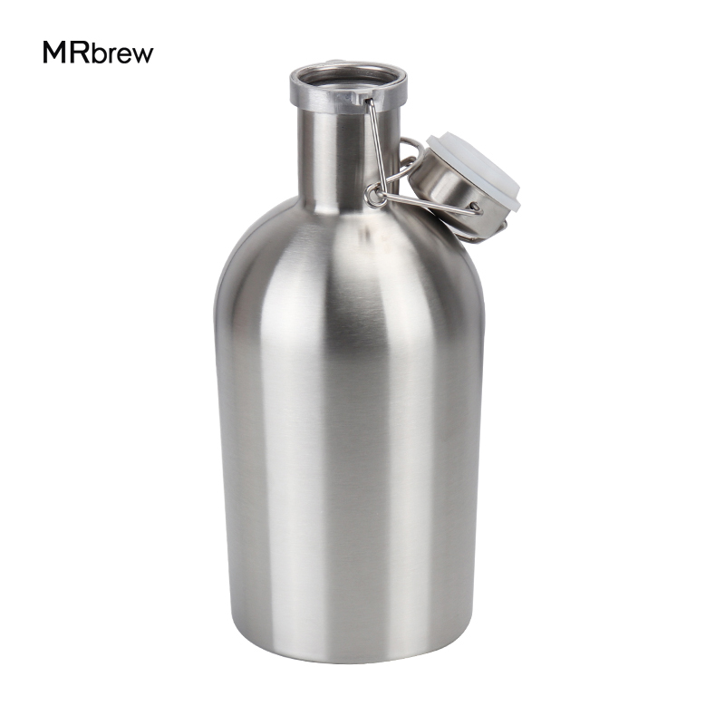 64oz Stainless Steel 304 Beer Growler,Secure Swing Top Beer Growler,1.9L Beer Bottle Saver Flip Cap Home Brew