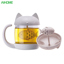Creative Wheat Straw Fiber Double Wall Glass Cup With Tea Strainer Infuser