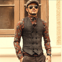 Men Autumn Vest Casual Fashion Vintage England Style Business Men Waistcoats Woolen Double Breasted Men'S Vest A2804