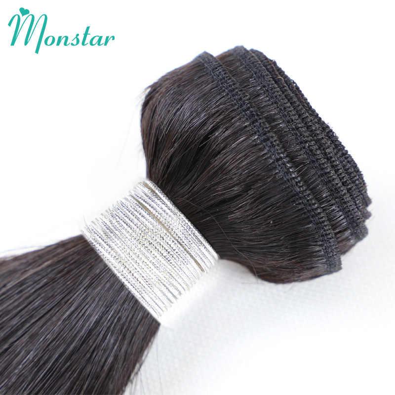 Monstar 8-40 zoll Natürliche Farbe Unverarbeitete Peruanische Gerade Remy Menschenhaar Weben 3 Bündel mit Frontal Spitze Schließung 13x4