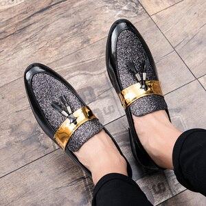 Image 4 - ROMMEDAL דירות עור מקרית גברים נעלי לגבר 2019 מכירה לוהטת אוקספורד חתונה שמלת מסיבת זכר רשמי גליטר הנעלה סיטונאי