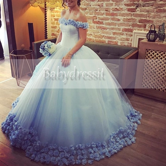 2e5aa6503d4 Puffy Boat Neck Off the Shoulder Light Blue Tulle Quinceanera Dress with  Flowers Girl Floor Length