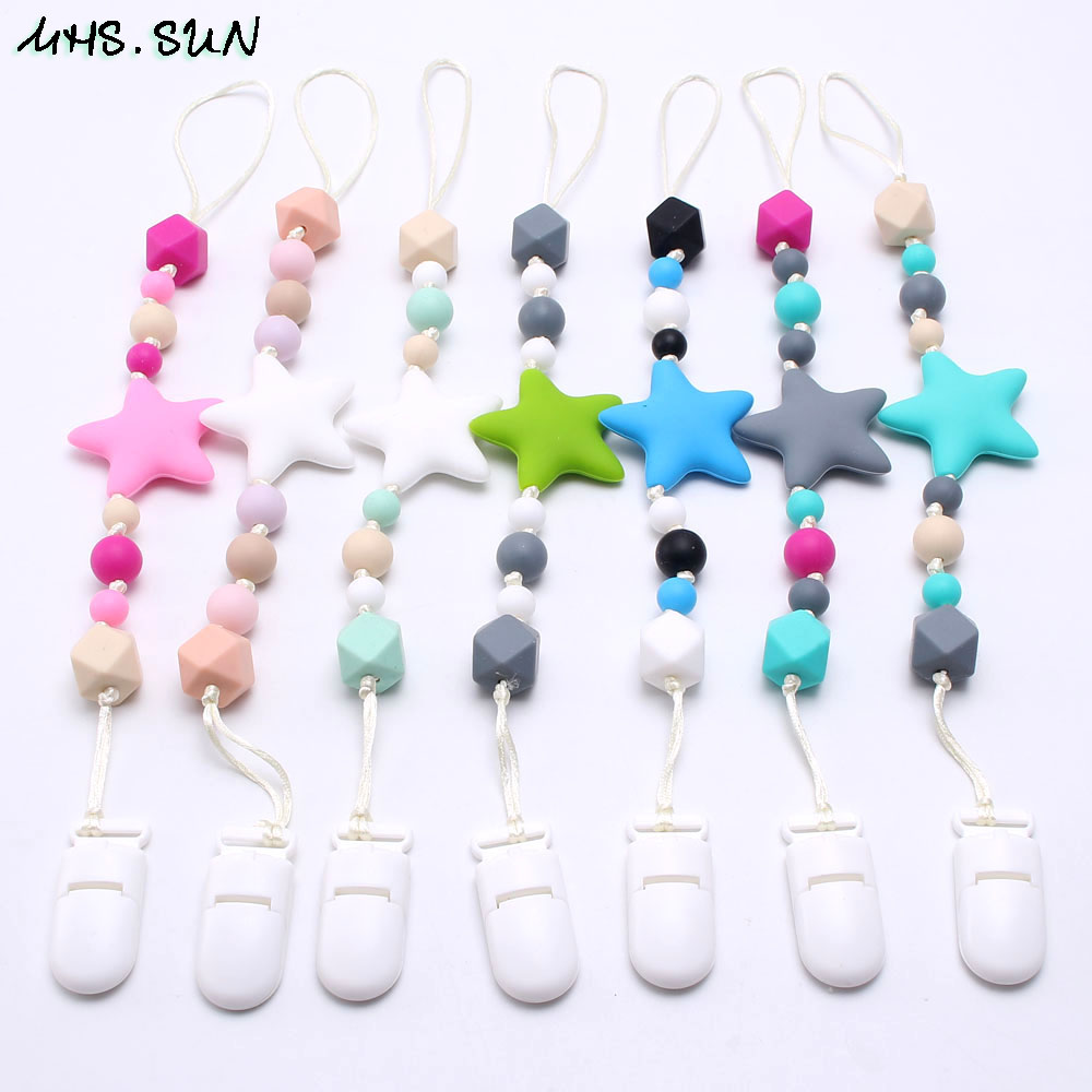 Soother Teething Silicone Beads Nipple Chain Baby Pacifier Pacifier Clip
