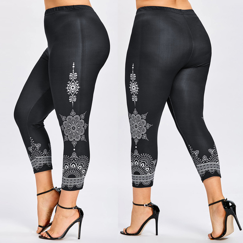 Women Plus Size 5XL Space Dye Printed Leggings Casual Marled Skinny Leggings Female Pencil Casual Pants Ladies Trousers 2019