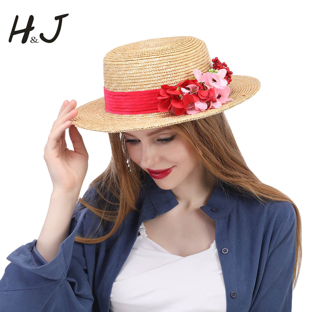 Detail Feedback Questions about Fashion Women Summer Wheat Straw Sun Hat  Lady Beach Wide Brim Boater Hat With Handmade Flower Size 56 58CM on  Aliexpress.com ... 73f958d43882