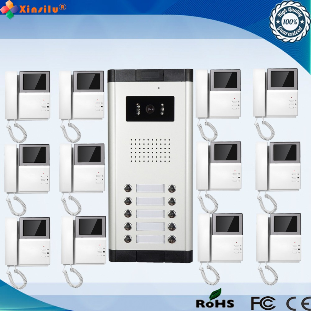4.3 Inch 700TVL Wired Intercom Video Door Phone With 12 Monitor