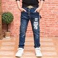 Alta calidad 2016 Otoño Nueva Moda de Algodón de Los Muchachos Pantalones Vaqueros de Los Niños Azul Larga de Mezclilla Vaqueros de Los Niños Pantalones Niños Clohtes