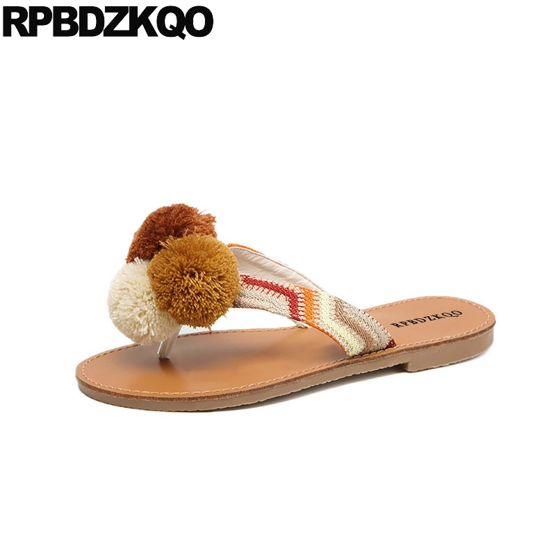 48808566f22b Slides Pom Pom Slippers Orange Shoes Nice Women Sandals Flat Summer 2018  Cheap Flip Flop Ladies Holiday Designer Famous Brand-in Women s Sandals  from Shoes ...