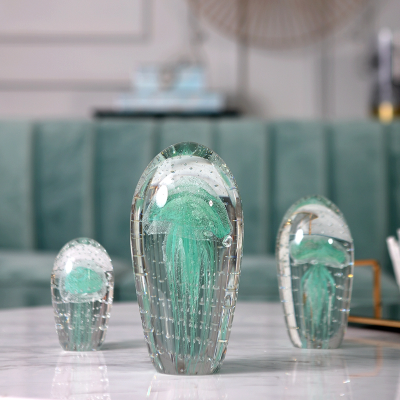 Luxurious Biological Specimen <font><b>Glass</b></font> Green Blue Pink <font><b>Jellyfish</b></font> <font><b>Glass</b></font> Ornaments Figurines Home Wedding Party Decor Gifts Souvenir image