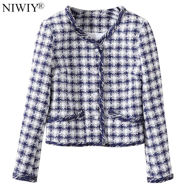 NIWIY Brand Celebrity Plaid Short Jacket Abrigos Mujer Invierno 2019 Autumn Long Sleeve Women Jacket Manteau