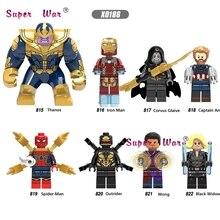 Único Infinito Guerra Wong Black Widow Capitão América Iron Man Lady Death Outrider Corvus Glaiva blocos de construção de brinquedos para crianças