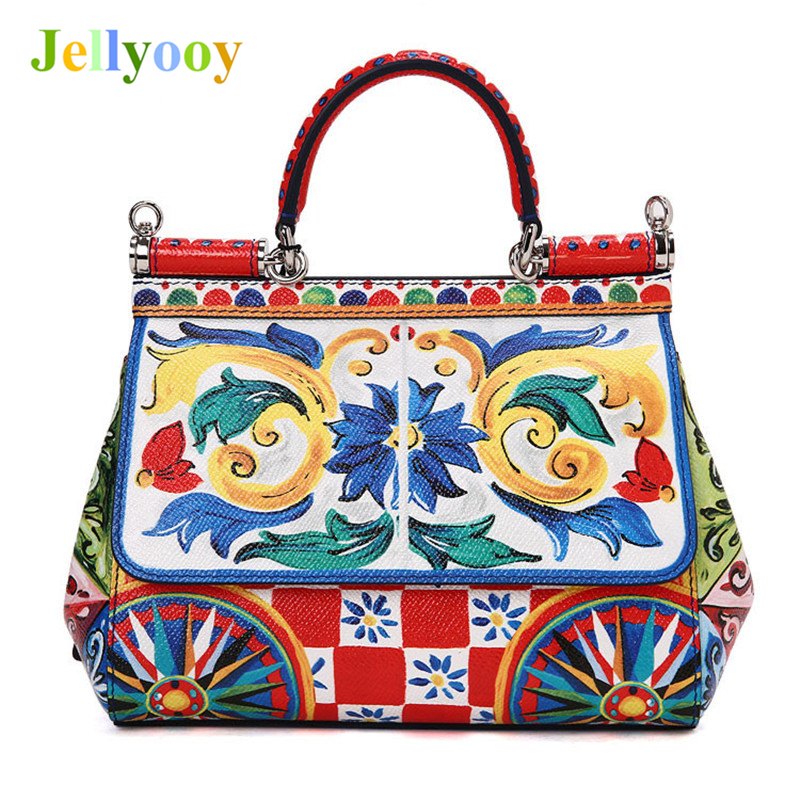 цены Italy Romantic Baroque Series Women Handbags Elegant Print Shoulder Bags Luxury Designer Lady Genuine Leather Platinum Tote Bags