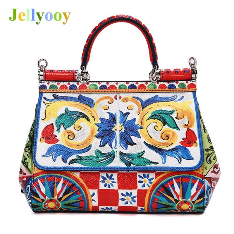 цены Italy Romantic Baroque Series Women Handbags Elegant Print Shoulder Bags Luxury Designer Lady Genuine Leather Platinum Tote Bags