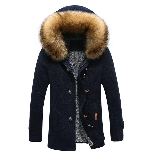 Novo 2016 inverno inglaterra estilo destacável gola de pele homens do revestimento de trincheira roupas espessamento dos homens blusão manteau homme NDY10
