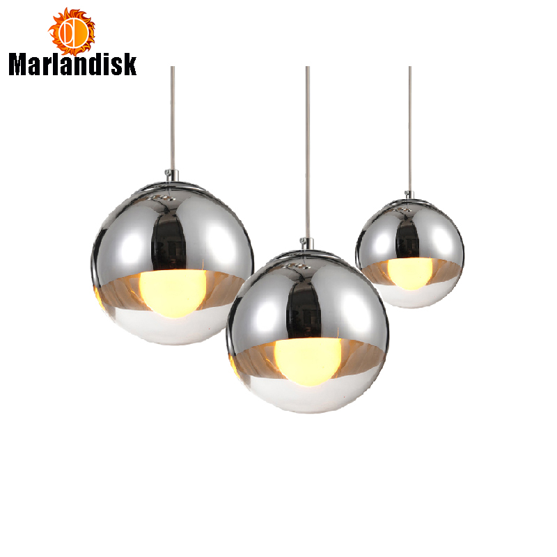 Attractive Copper/Sliver Glass Shade Silver Inside Mirror Pendant Light E27 LED Pendant Lamp Glass Ball Living Room Lamps(DH-50)