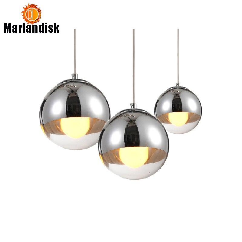 Attrayant Cuivre/Ruban Verre Ombre Argent À L'intérieur Miroir Pendentif Lumière E27 LED Pendentif Lampe Boule De Verre Salon Lampes (DH-50)