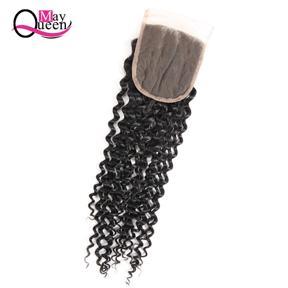 May Queen Hair Curly Closure Lace Human Hair Closure Brazilian Hair Weave Bundles 4*4 Remy Cuticle Aligned