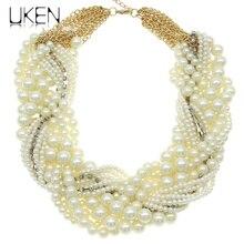 UKEN Ladies Imitation Pearl Necklace Fashion White Beads Rhinestones String Women Collar Chokers Necklaces Statement Jewelry