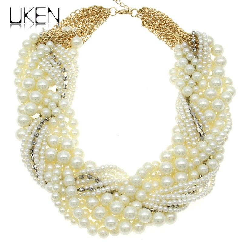 UKEN Ladies Imitation Pearl Necklace Fashion White Beads Rhis