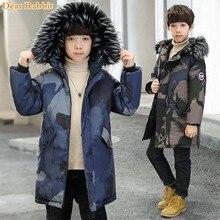 2019 odzież dziecięca chłopcy zimowe kurtki z kapturem zagęszczonym płaszcze na co dzień ciepłe bawełniane puchowe parki dla dzieci outdoor kamuflażowa odzież