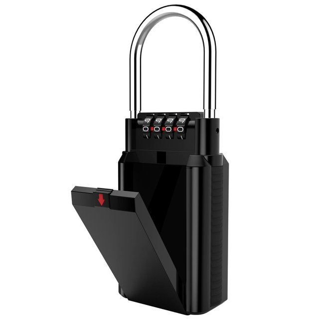 US $31 8 |4 Digit Combination Lock Box Weatherproof Key Storage Lock Safe  Box Holds Up to 6 Keys Estate Organizer Home Security -in Locks from Home