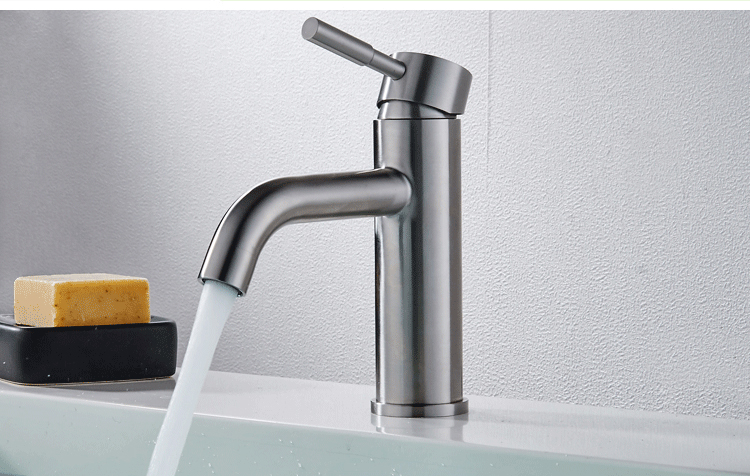 SUS304 Stainless Steel Basin Mixer faucet Hot and Cold Tap with Aerator Brushed Nickel Thick material