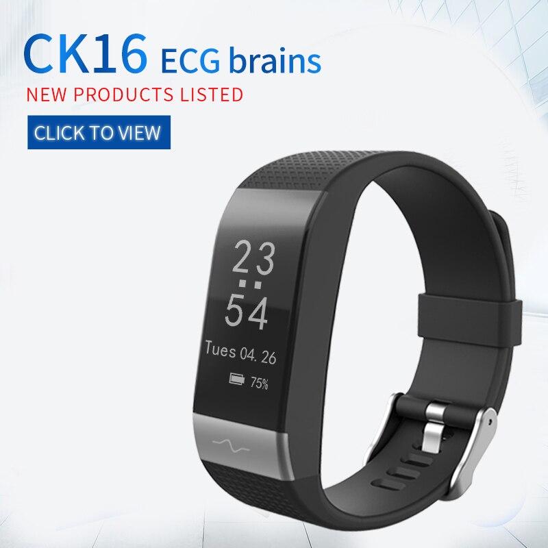 CK16 18 astuto wrist band ECG PPG frequenza cardiaca sonno monitoraggio della pressione arteriosa BT braccialetto di sport watch fitness per xiaomi
