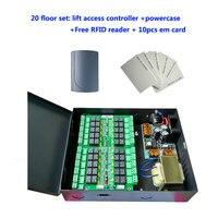 Лифт контроля доступа комплект 20 этажей Лифт Управление Лер + случае мощность + Бесплатная RFID считыватель + 10 шт. EM карты, sn: dt20_set