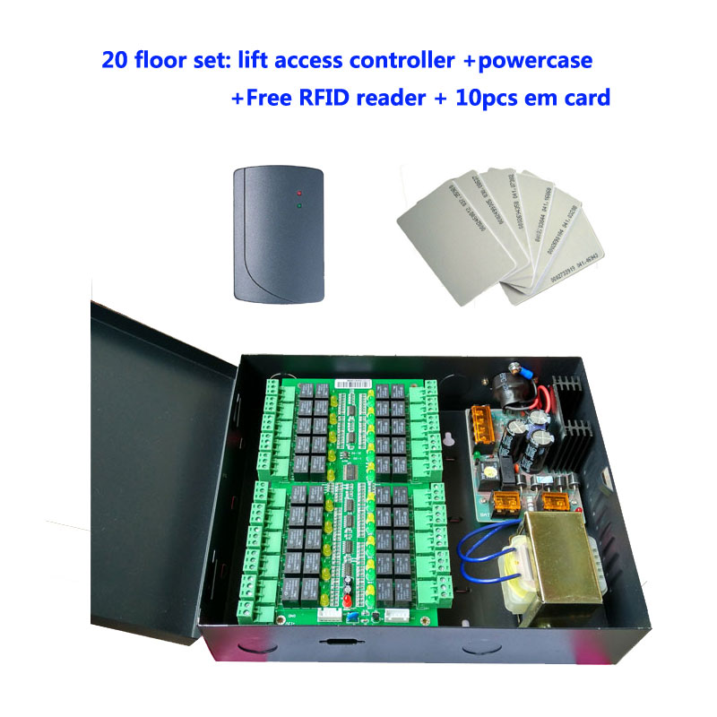 Lift access control set ,20 floors Elevator Controller+power case+Free rfid reader+10pcs em card,sn :DT20_set
