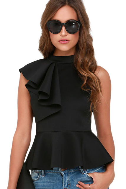 Stylish Summer Ladies Tank Top 2017 Black Asymmetric Ruffle Side Peplum Tops Veste Femme Fitness Feminino LC25845