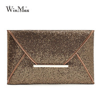 New Design Fashion Women Evening Bags Party Clutch Bags Purses Female PU Sequined Hasp Envelop Bags