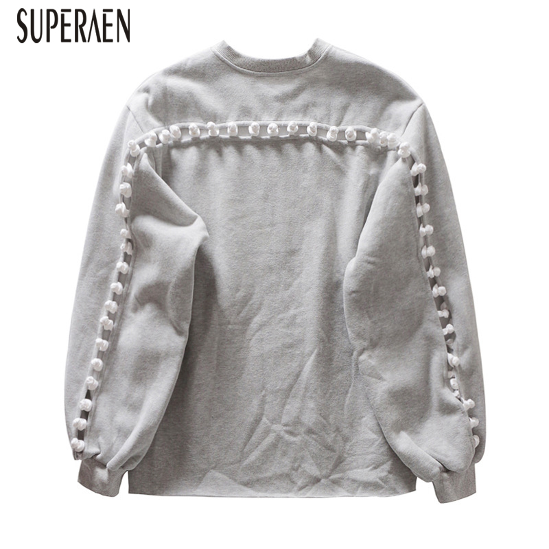 SuperAen Europe Hoody Wild Cotton Sweatshirts Women 2019 Spring and Autumn New Sweatshirts Female Hollow Solid Color Tops(China)