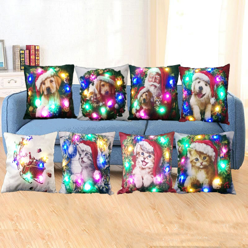 DIY Throw Case Cushion Cover LED Christmas Light Flax Pillow Case Sofa Car Decorative Xmas Tree Cushion Covers Home Decor F