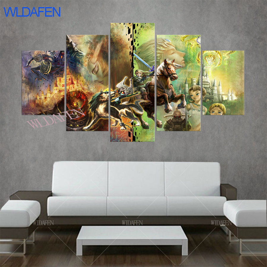 decorative pictures 5 pieces Zelda Riding a horse Game Characters living room decoration posters pictures on the wall vintage