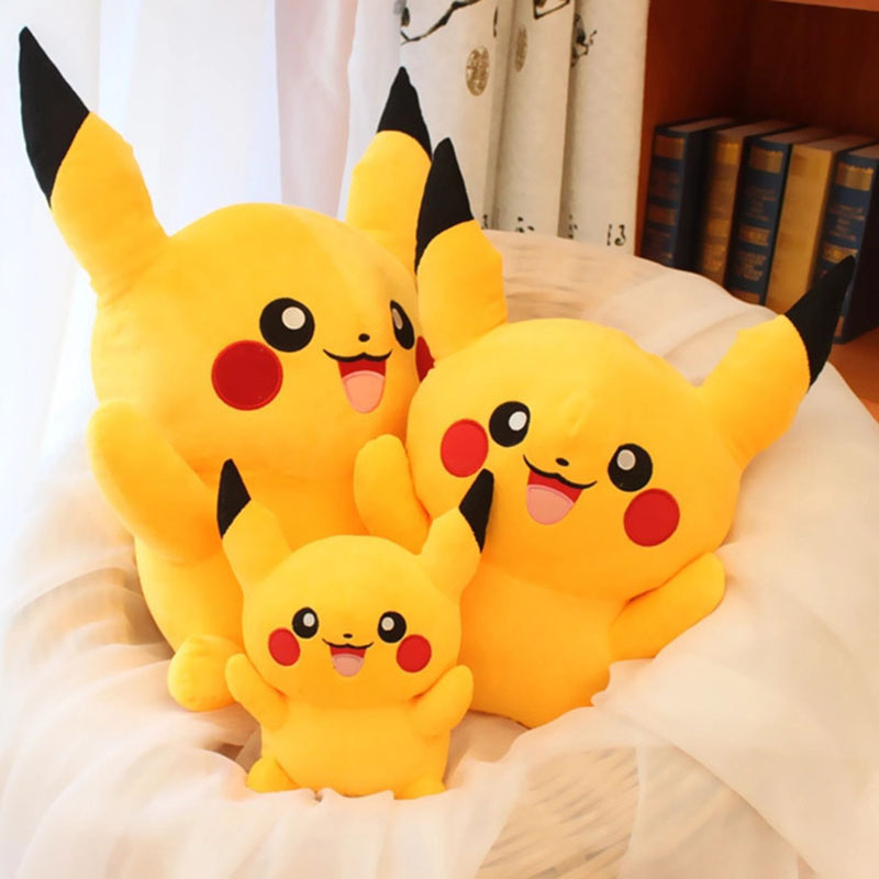 1 Piece Hot Sale Cute Pikachu Plush Toys Anime Characters Stuffed Soft Doll Kids Toys Children's Birthday Gift Free Shipping cartoon pikachu waza museum ver cute gk shock 10cm pikachu pvc action figures toys go pikachu model doll kids birthday gift