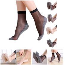Hot 1 Pair Spring Summer Women Soft Socks Casual Non-Slip Bottom Splice Fashion Transparent Ladies Girls Thin Silk Sock