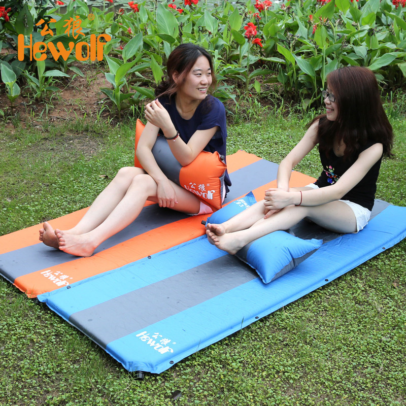 Hewolf Outdoor Thickening Damp proof Sleeping Pad Tent Mat Automatic Inflatable Single Tent Camp Bed Splicing Portable New
