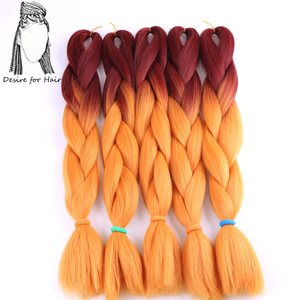 Image 2 - Desire for hair 4packs per lot 24inch 100g 2 tone three tone ombre color synthetic braiding box braids hair black grey burgundy